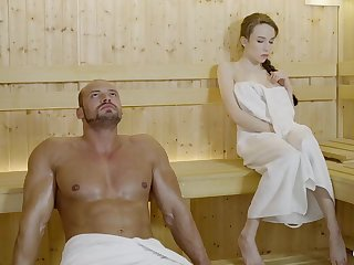 Russian gal with braided hair with an increment of large mammories got drilled about the sauna, until she came