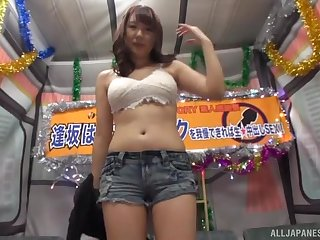 Redhead Japanese MILF Aisaka Haruna swallows a cumshot in a bus