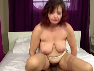 Outright full-grown mom takes young cock buy hairy vagina