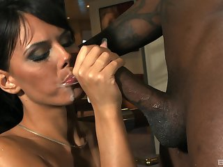 Hardcore bore be wild about from a big swart dick and cum for Melanie Memphis