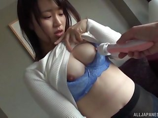 Busty Asian brunette pounded hard in a MMF triumvirate