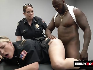 Whimpering female cops get hot on the job