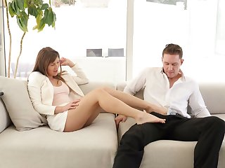Sexually charged neonate Paige Owens gives a good footjob and rides a dick