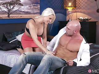 Busty blonde porn star Blanche Bradburry rides a big cock.
