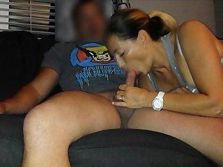 hot milf sucks his dick as a result hard