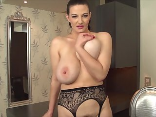 Solo model with big natural tits strips coupled with pleasures herself
