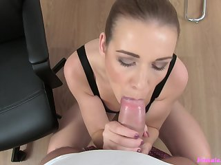 Intense POV blowjob and sex with her progressive boss
