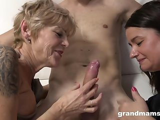 Grannies Wanna Have Fun - age-old and 18yo in threesome share cum
