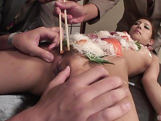 Japanese enter fetish during group lovemaking with a slim slave girl