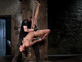 Be crushed bondage and rough Hitachi pussy stimulation be expeditious for Skin Diamond