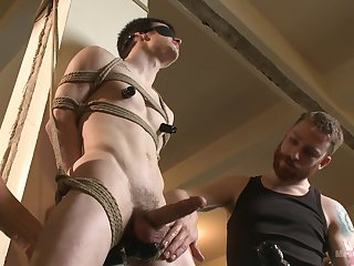 Duteous twink endures two bodies for a deserted BDSM anal
