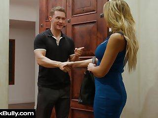Complain spliced Sophia Deluxe sucks boss's cock for husband's promotion