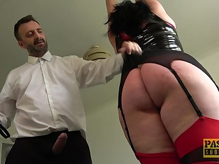 Tall BBW with a fat dimpled butt gets punished with an increment of fucked