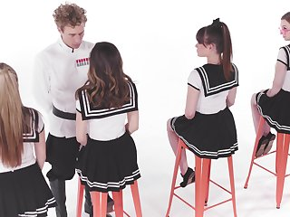 One curly guy fucks pretty student girls beside uniform