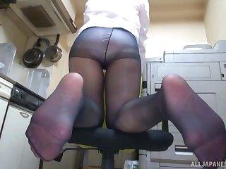 Japanese of age Bamaiki Ei up nylon stockings pleasing with her feet