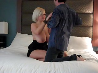 Downcast love making roughly the bedroom upon chubby wife Carey Riley