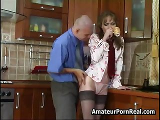 Sexy Russian Mature Fucks Young Guy Close to Kitchen