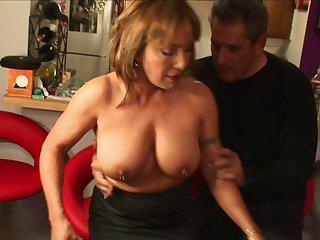 Seasoned snatch Jazebel with pierced nipples fucked by a huge wang