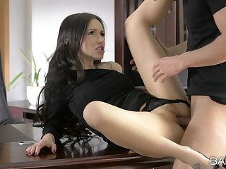 Business meeting ends with set the world on fire fuck and sperm on her clit