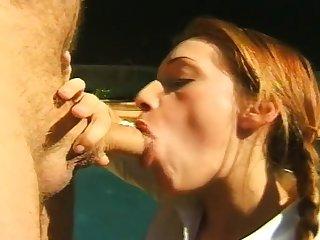Redhead amateur slut orally pleasing black shaft outdoor