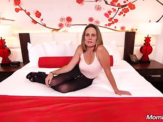 Skinny brunette milf to saggy tits, Judith, is riding a hard white cock of a camera