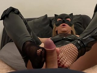 Femdom Catwoman Makes Blowjob And Hot Footjob With Balls Kicking And Cum On Soles Pov Cosplay Fetish