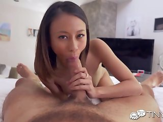 Skilled fucker Danny licks and fucks tight pussy be advisable for extremely petite girlfriend