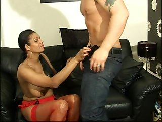 Gorgeous inclusive India moans while getting her pussy banged atop a couch