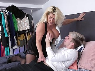Younger man with a stricken cock fucks wet pussy of mature Lola Wild