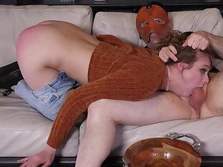 Insolent chick plays submissive for her masked authority