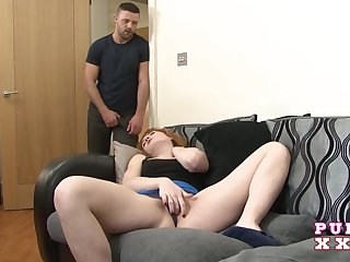 Dude fucks sexy red haired roomie masturbating her pussy