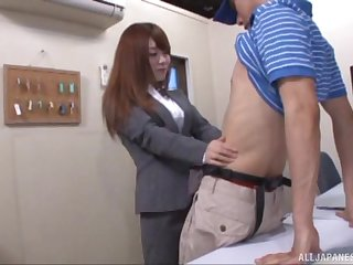 Wild quickie all round a sexy Japanese coworker who loves cum. HD