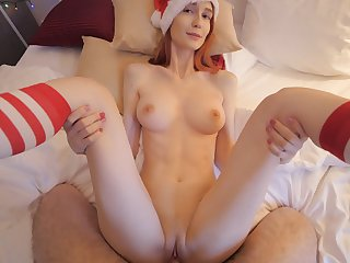 Naughty blondy takes gaffe at Christmas