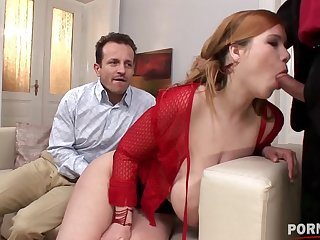 Redhead busty old bag Terry Nova gives a blowjob while getting pussy fucked GP1228