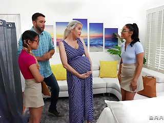 Midwives help pregnant son w horny boyfriend!