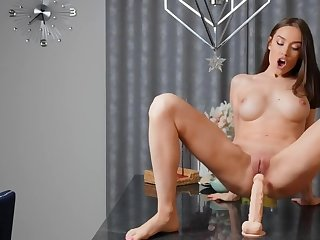 Pornstar experiments and plays carnal games with her big dildo