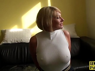 Grown-up bdsm brit paddled and fucked