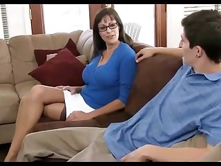 Hyacinthine haired mummy loves wearing ebon pantyhose, while hotwife on her hubby in the living apartment