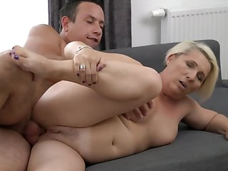 A granny on touching a fat nuisance is doing a blow job here a sexy manner